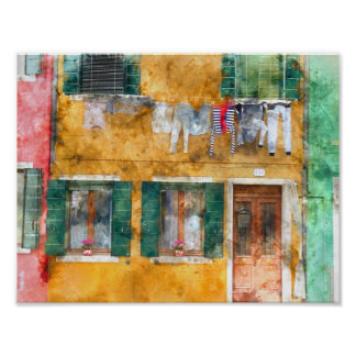 Poster Corde à linge sur un bâtiment dans Burano Italie