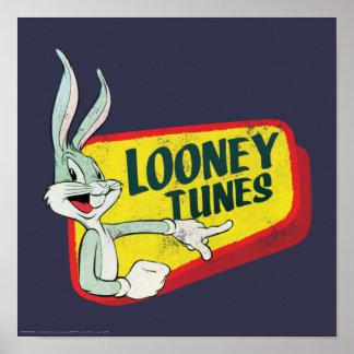 Poster Correction LOONEY du ™ TUNES™ de BUGS BUNNY rétro