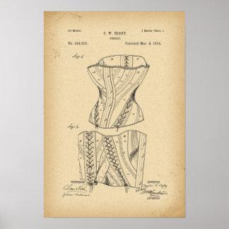 Poster Corset de 1884 brevets