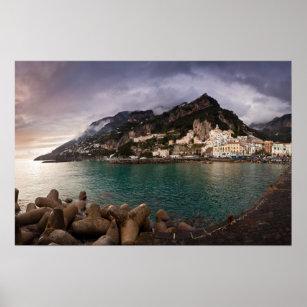 Poster Côte pittoresque d'Amalfi, ville de bord de la me