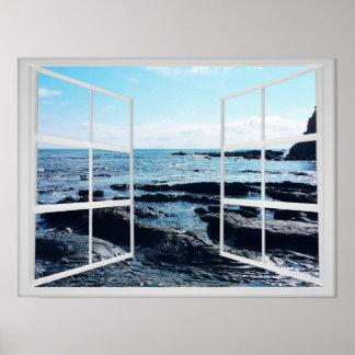 Poster Côte rocheuse d'océan avec le châssis de fenêtre