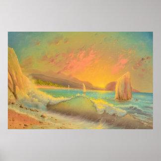 Poster Coucher du soleil chaud sur la plage (affiche de