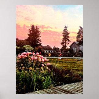 Poster Coucher du soleil côtier du Maine
