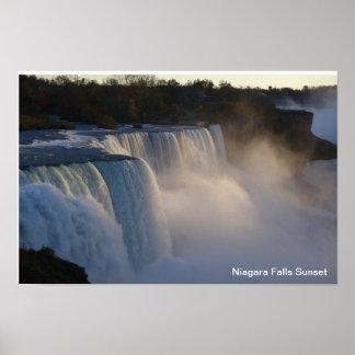 Poster Coucher du soleil de chutes du Niagara