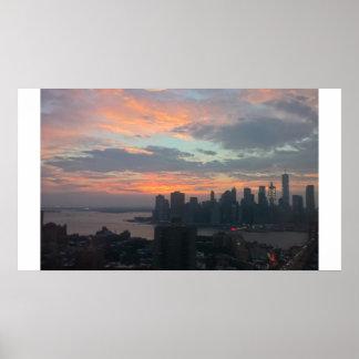 Poster Coucher du soleil de New York