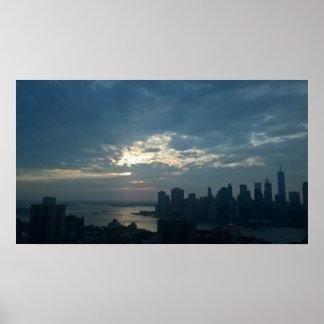 Poster Coucher du soleil de New York City