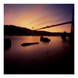 Poster Coucher du soleil de pont de St Johns