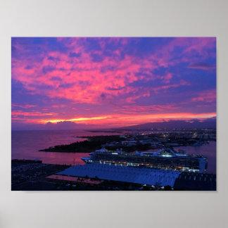 Poster Coucher du soleil de port de Honolulu