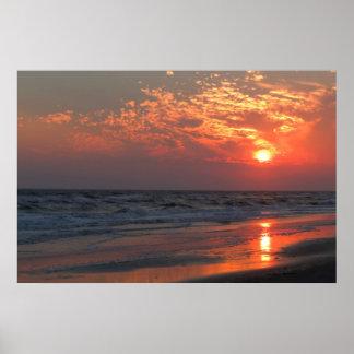 Poster Coucher du soleil d'océan - île de chêne, OR