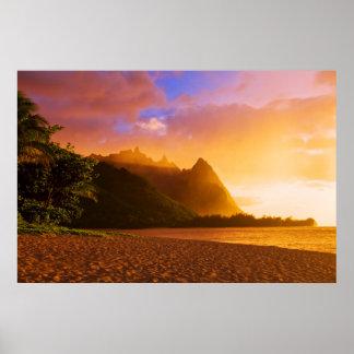 Poster Coucher du soleil d'or de plage, Hawaï
