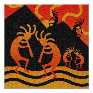 Poster Coucher du soleil du sud-ouest Kokopelli de désert