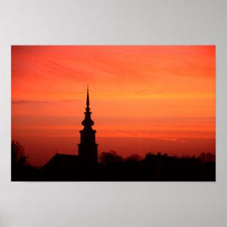 Poster Coucher du soleil hongrois avec l'église