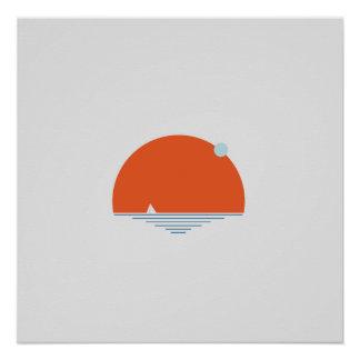 Poster Coucher du soleil par la mer