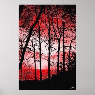 Poster Coucher du soleil rouge