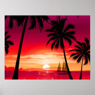 Poster Coucher du soleil Shimmery magnifique et voilier