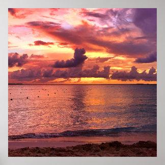 Poster Coucher du soleil tropical de plage