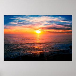 Poster Coucher du soleil tropical de plage d'île