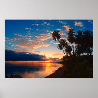 Poster Coucher du soleil tropical d'île hawaïenne