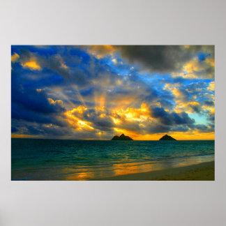 Poster Coucher du soleil tropical hawaïen d'or de plage