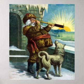 Poster Coucher du soleil vintage de chien de télescope du