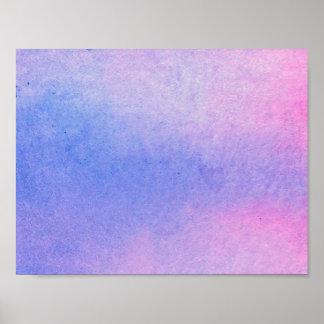 Poster Couleur pour aquarelle de marbre rose et bleue