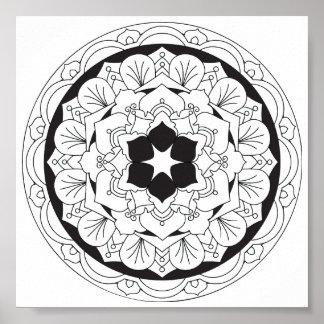 Poster Couleur-Votre-Propre mandala floral 060517_4