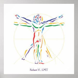 Poster Couleurs de Chakra d'homme de DaVinci Vitruvian