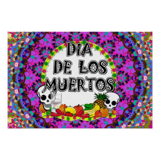 Poster Couleurs de Dia De Los Muertos Wild