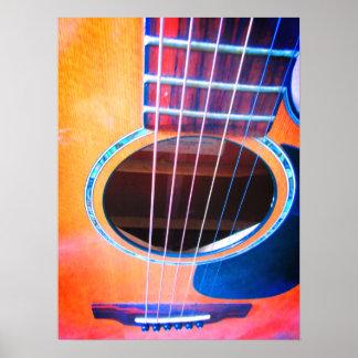 Poster Couleurs de perspective de guitare acoustique de