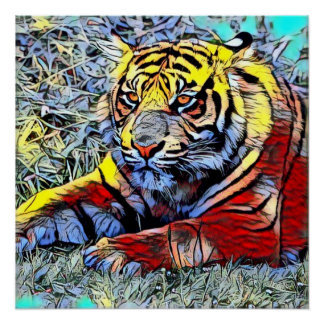 Poster Coup-de-pied de couleur - tigre 2