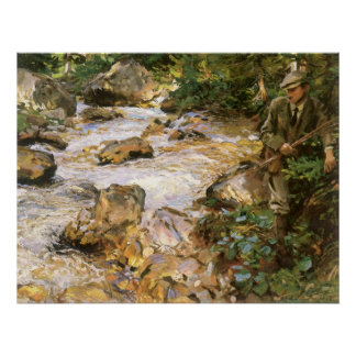 Poster Courant de truite au Tyrol par John Singer Sargent