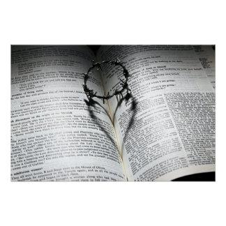 Poster Couronne des épines coeur et bible
