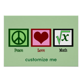 Poster Coutume de maths d'amour de paix