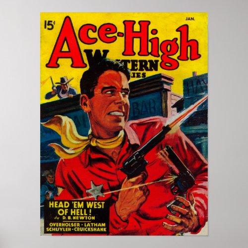 Poster Couverture de magazine Ace-High Western