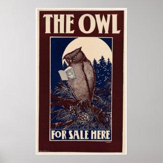 Poster Couverture de magazine vintage de hibou
