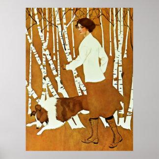 Poster Couverture de promenade d'automne de fille