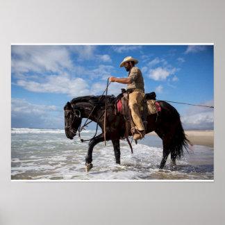 Poster cow boy cheval dans la mer