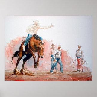 Poster Cowboy d'équitation de Bronc