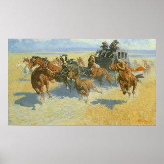 Poster Cowboy vintage, avalant le chef proche, Remington