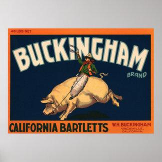 Poster Cowboy vintage d'art d'étiquette de caisse de