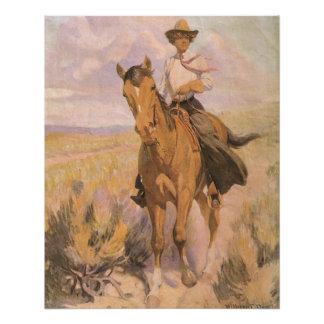 Poster Cowboy vintage de cow-girl, femme sur le cheval