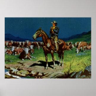 Poster Cowboy vintage, élevant le propriétaire d'un ranch