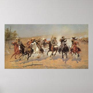 Poster Cowboys vintages, un tiret pour le bois de