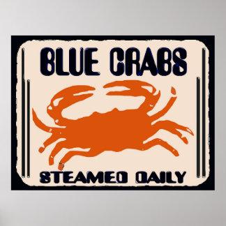 Poster Crabes bleus, journal cuit à la vapeur,