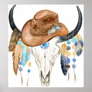 Poster Crâne de Boho d'aquarelle et casquette de cowboy