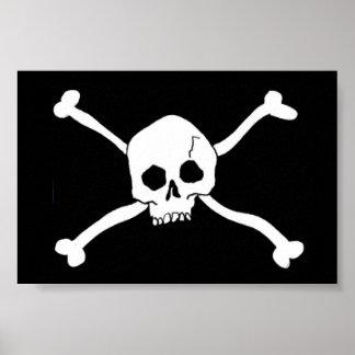 Poster crâne et signe d'os croisés