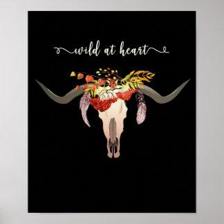 Poster Crâne floral de Bohème d'Antler. Sauvage au coeur