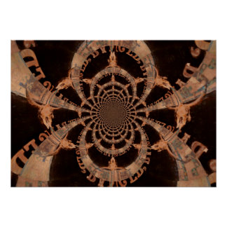 Poster Crâne grunge rustique de buffle de kaléidoscope