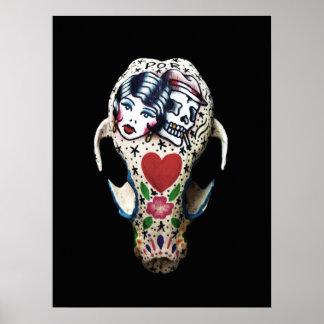 Poster Crâne peint par rockabilly