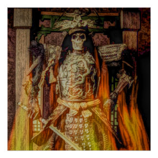 Poster crâne samouraï japonais de samouraïs d'armure de